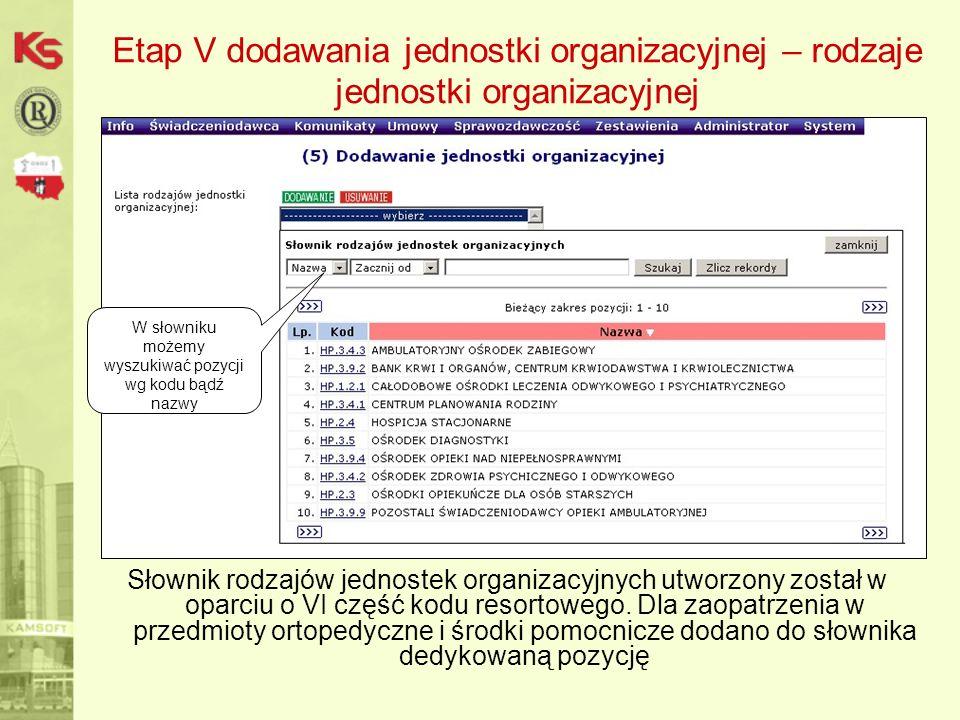 Etap V dodawania jednostki organizacyjnej – rodzaje jednostki organizacyjnej Słownik rodzajów jednostek organizacyjnych utworzony został w oparciu o VI część kodu resortowego.