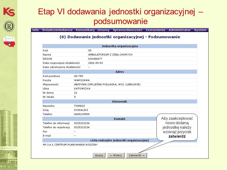 Aby zaakceptować nowo dodaną jednostkę należy wcisnąć przycisk zatwierdź Etap VI dodawania jednostki organizacyjnej – podsumowanie