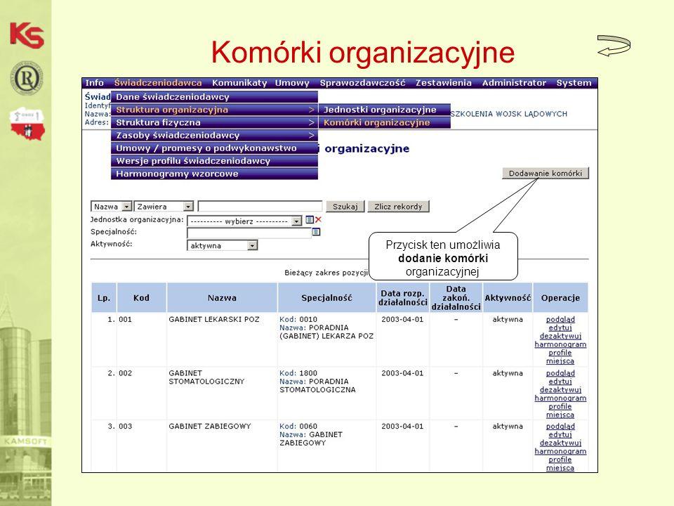 Komórki organizacyjne Przycisk ten umożliwia dodanie komórki organizacyjnej