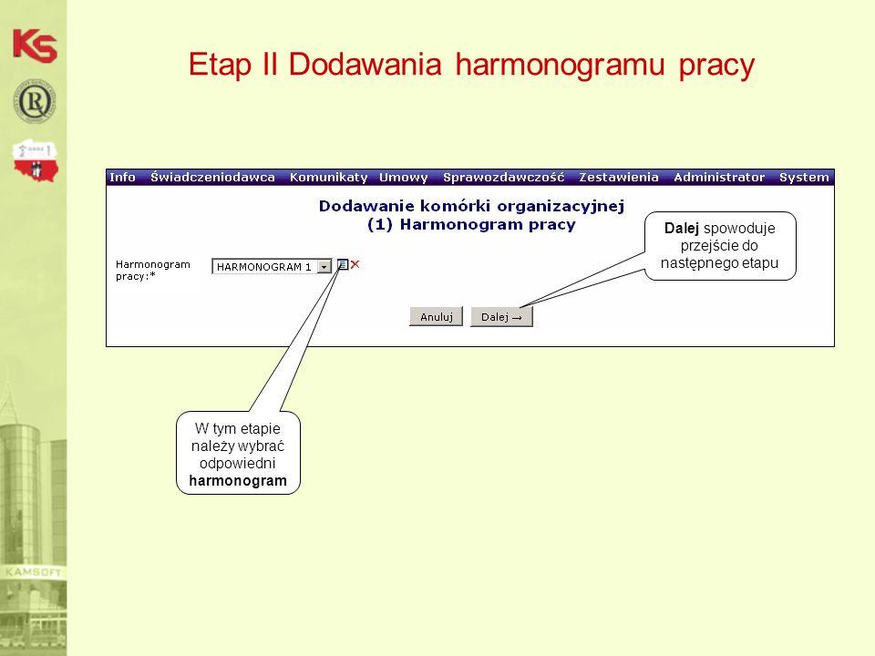 Etap II Dodawania harmonogramu pracy Dalej spowoduje przejście do następnego etapu W tym etapie należy wybrać odpowiedni harmonogram
