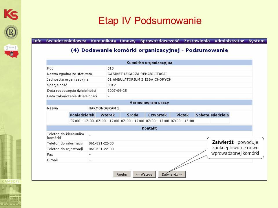 Etap IV Podsumowanie Zatwierdź - powoduje zaakceptowanie nowo wprowadzonej komórki