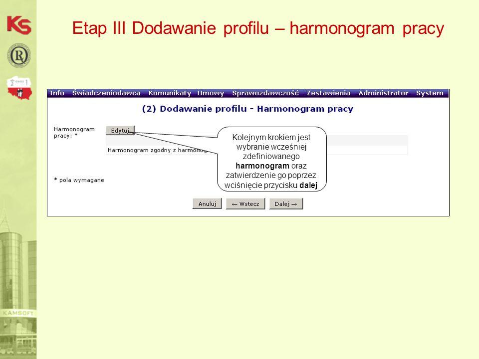 Etap III Dodawanie profilu – harmonogram pracy Kolejnym krokiem jest wybranie wcześniej zdefiniowanego harmonogram oraz zatwierdzenie go poprzez wciśnięcie przycisku dalej