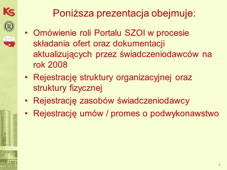 4 Poniższa prezentacja obejmuje: Omówienie roli Portalu SZOI w procesie składania ofert oraz dokumentacji aktualizujących przez świadczeniodawców na rok 2008 Rejestrację struktury organizacyjnej oraz struktury fizycznej Rejestrację zasobów świadczeniodawcy Rejestrację umów / promes o podwykonawstwo