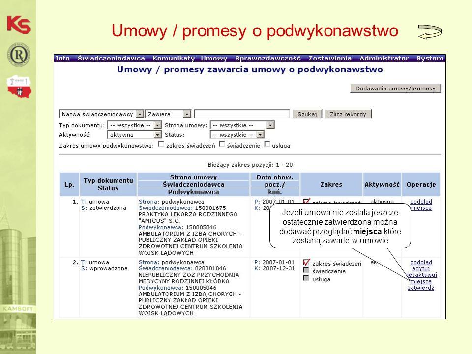 Umowy / promesy o podwykonawstwo Jeżeli umowa nie została jeszcze ostatecznie zatwierdzona można dodawać przeglądać miejsca które zostaną zawarte w umowie