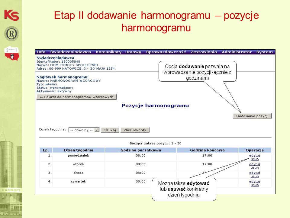 Etap II dodawanie harmonogramu – pozycje harmonogramu Opcja dodawanie pozwala na wprowadzanie pozycji łącznie z godzinami Można także edytować lub usuwać konkretny dzień tygodnia