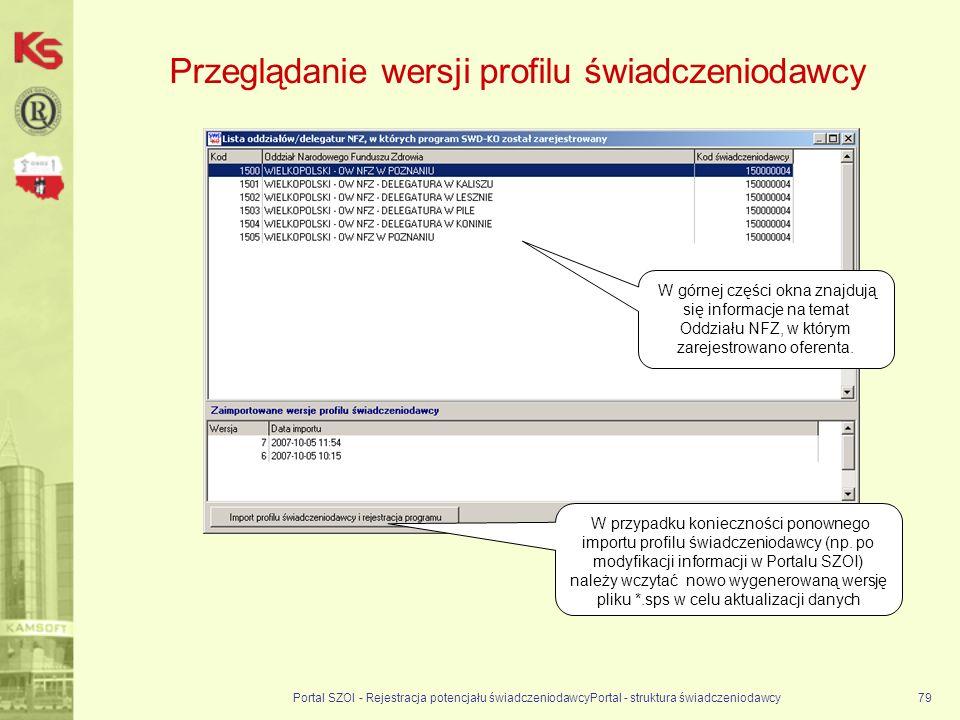 Przeglądanie wersji profilu świadczeniodawcy Portal SZOI - Rejestracja potencjału świadczeniodawcyPortal - struktura świadczeniodawcy79 W przypadku konieczności ponownego importu profilu świadczeniodawcy (np.