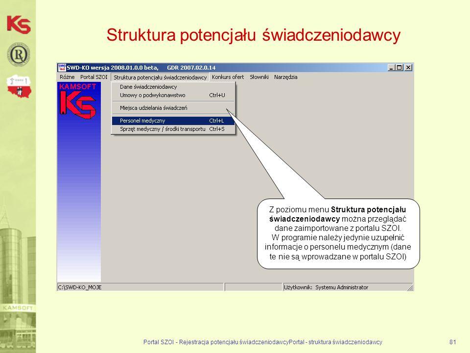 Portal SZOI - Rejestracja potencjału świadczeniodawcyPortal - struktura świadczeniodawcy81 Struktura potencjału świadczeniodawcy Z poziomu menu Struktura potencjału świadczeniodawcy można przeglądać dane zaimportowane z portalu SZOI.