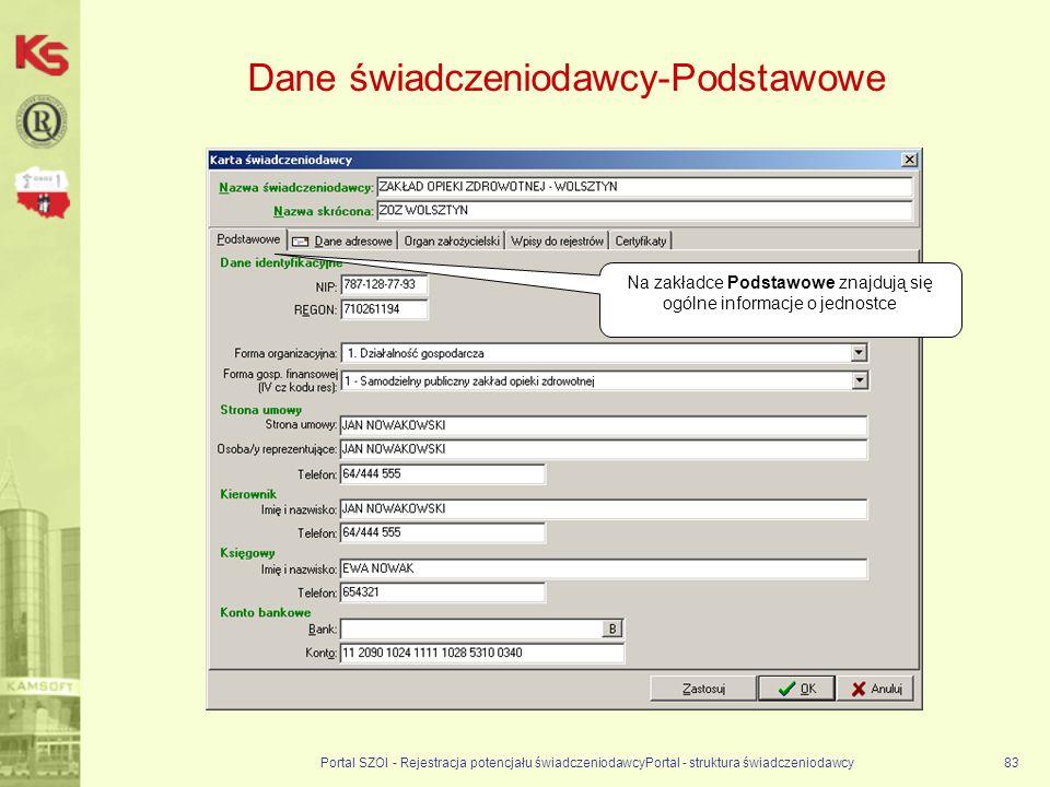 Dane świadczeniodawcy-Podstawowe Portal SZOI - Rejestracja potencjału świadczeniodawcyPortal - struktura świadczeniodawcy83 Na zakładce Podstawowe znajdują się ogólne informacje o jednostce