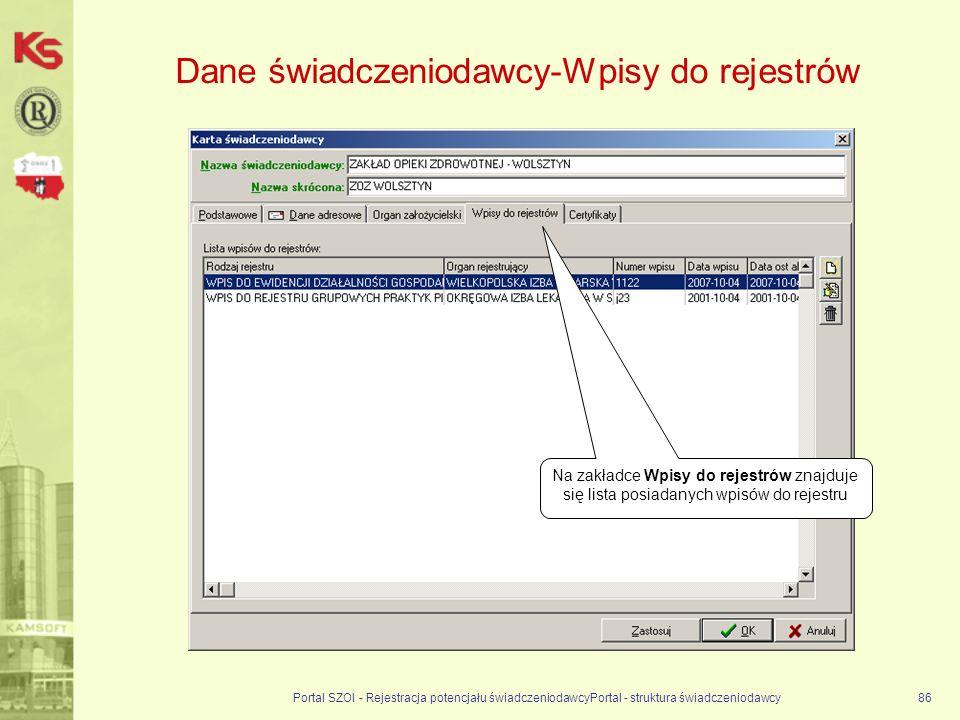 Dane świadczeniodawcy-Wpisy do rejestrów Portal SZOI - Rejestracja potencjału świadczeniodawcyPortal - struktura świadczeniodawcy86 Na zakładce Wpisy do rejestrów znajduje się lista posiadanych wpisów do rejestru