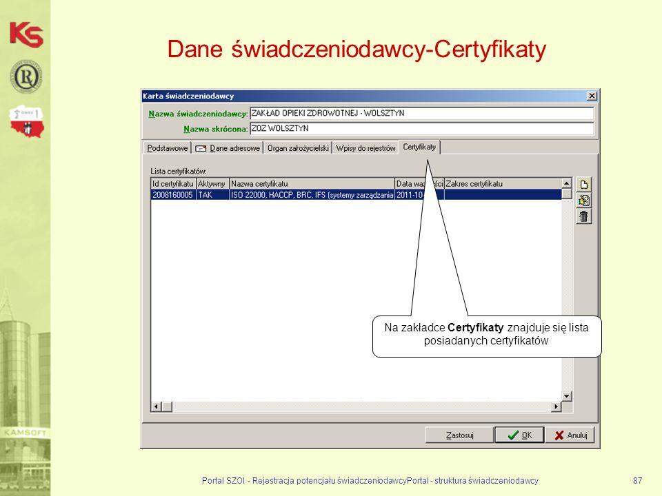 Dane świadczeniodawcy-Certyfikaty Portal SZOI - Rejestracja potencjału świadczeniodawcyPortal - struktura świadczeniodawcy87 Na zakładce Certyfikaty znajduje się lista posiadanych certyfikatów