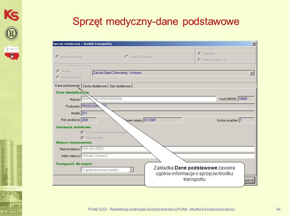 Sprzęt medyczny-dane podstawowe Portal SZOI - Rejestracja potencjału świadczeniodawcyPortal - struktura świadczeniodawcy94 Zakładka Dane podstawowe zawiera ogólne informacje o sprzęcie/środku transportu