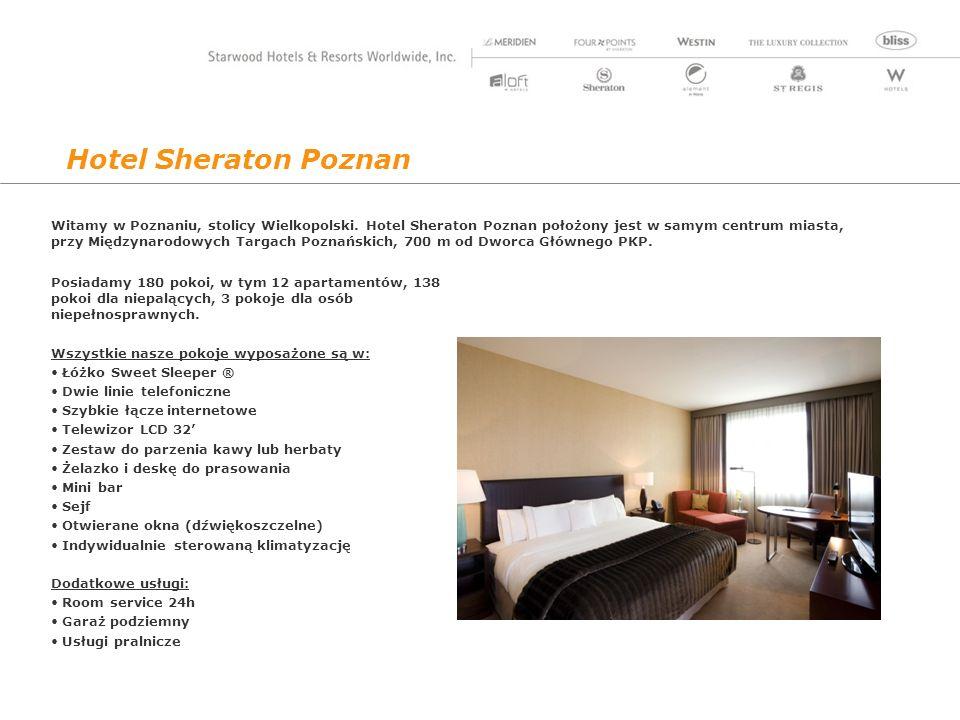 Hotel Sheraton Poznan Posiadamy 180 pokoi, w tym 12 apartamentów, 138 pokoi dla niepalących, 3 pokoje dla osób niepełnosprawnych.