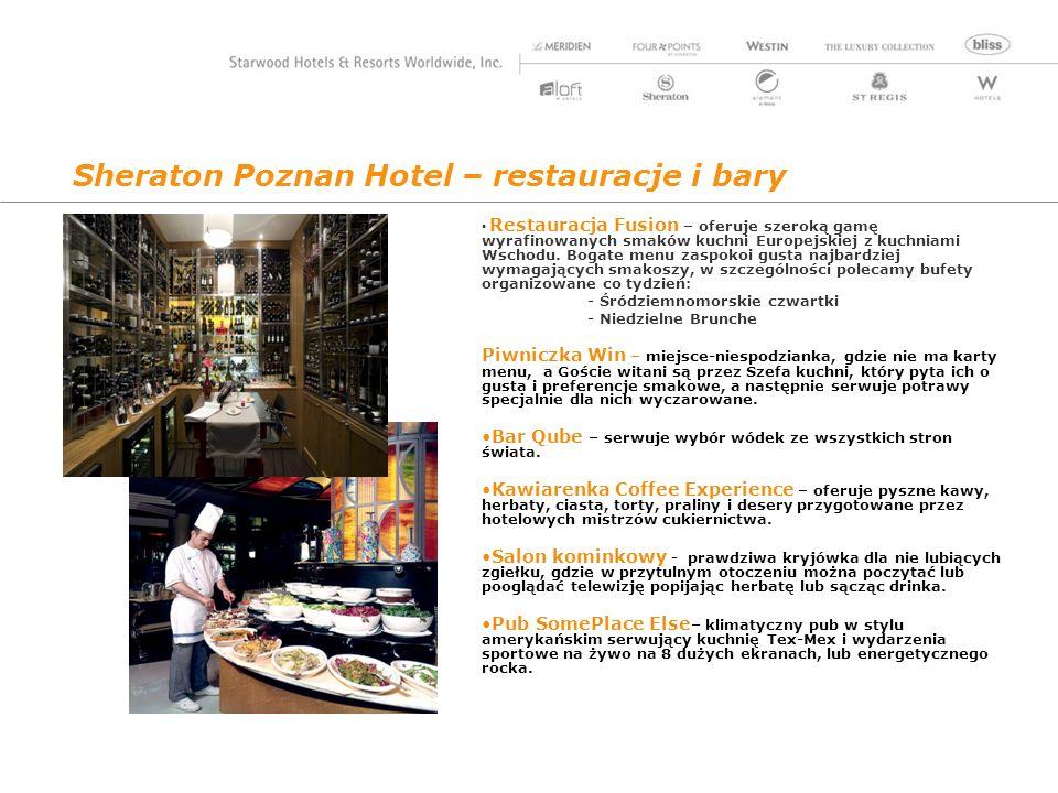 Sheraton Poznan Hotel – restauracje i bary Restauracja Fusion – oferuje szeroką gamę wyrafinowanych smaków kuchni Europejskiej z kuchniami Wschodu.