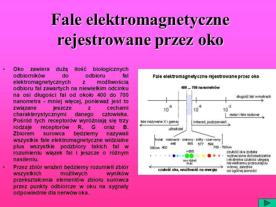 Fale elektromagnetyczne rejestrowane przez oko Oko zawiera dużą ilość biologicznych odbiorników do odbioru fal elektromagnetycznych z możliwością odbi