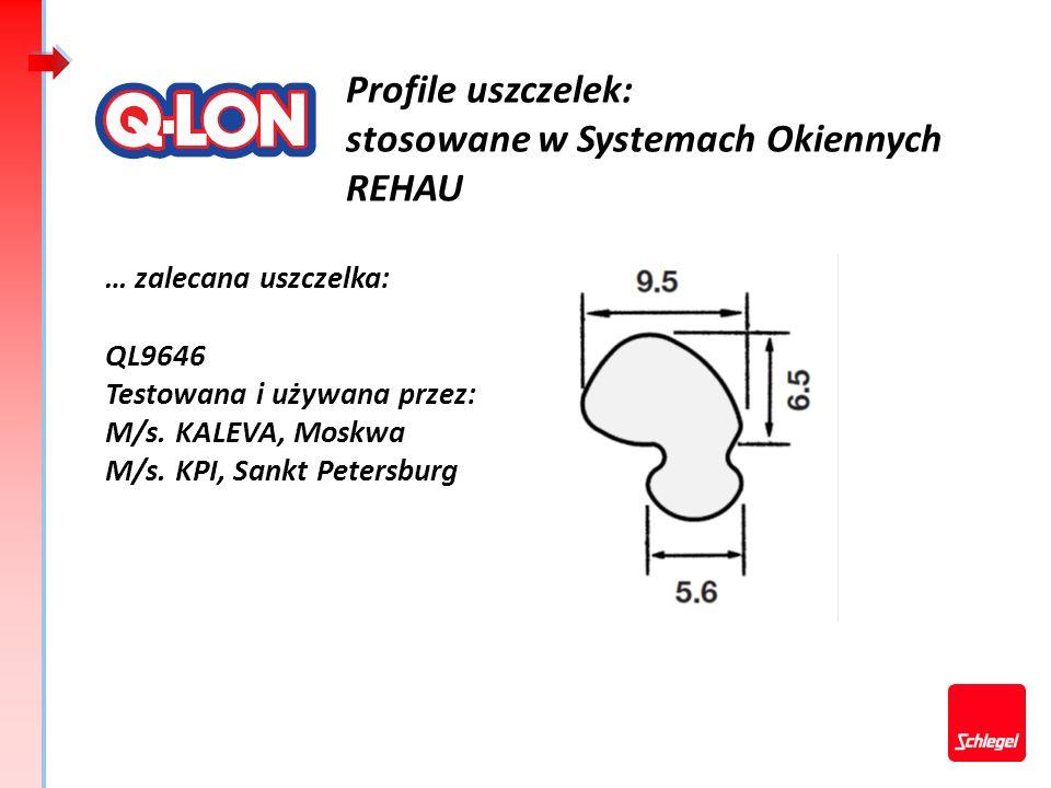 Profile uszczelek: stosowane w Systemach Okiennych REHAU … zalecana uszczelka: QL9646 Testowana i używana przez: M/s. KALEVA, Moskwa M/s. KPI, Sankt P