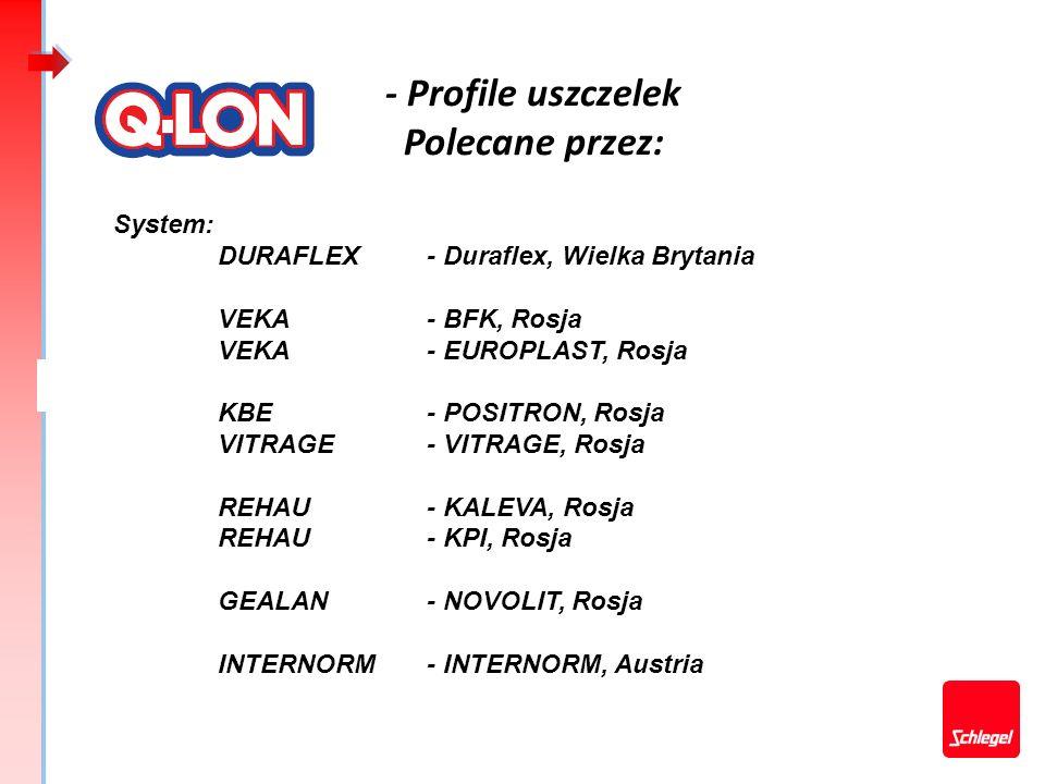 - Profile uszczelek Polecane przez: System: DURAFLEX- Duraflex, Wielka Brytania VEKA- BFK, Rosja VEKA- EUROPLAST, Rosja KBE- POSITRON, Rosja VITRAGE-