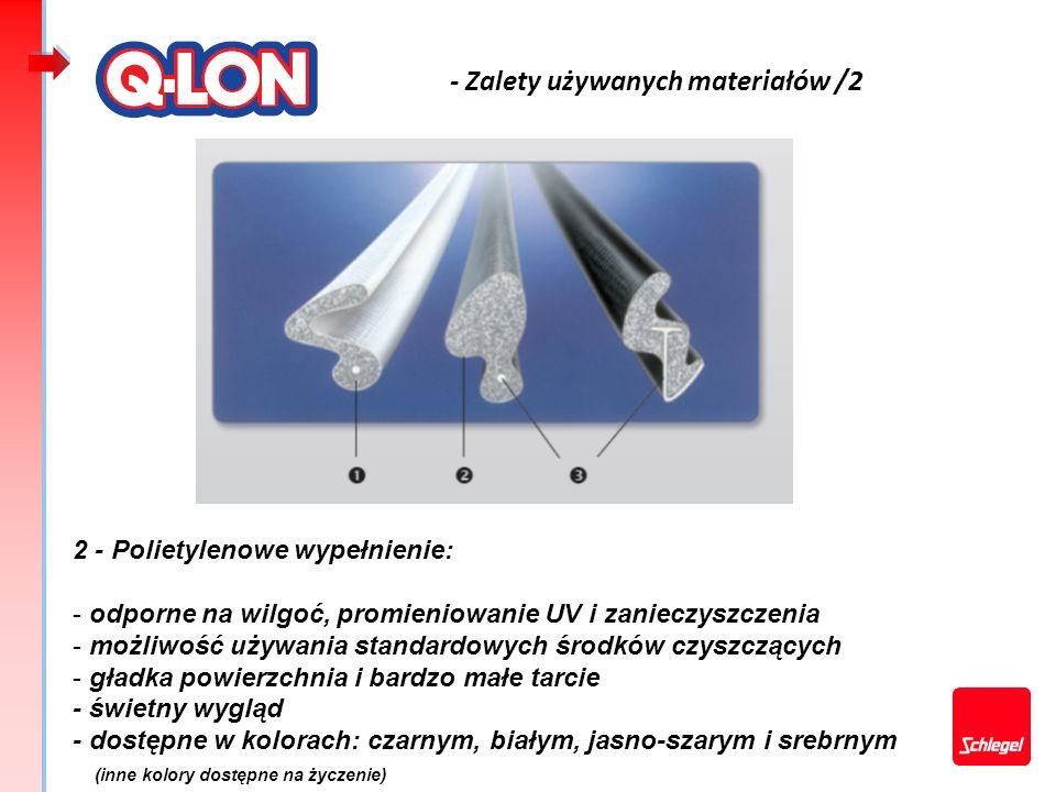- Zalety używanych materiałów /2 2 - Polietylenowe wypełnienie: - odporne na wilgoć, promieniowanie UV i zanieczyszczenia - możliwość używania standar
