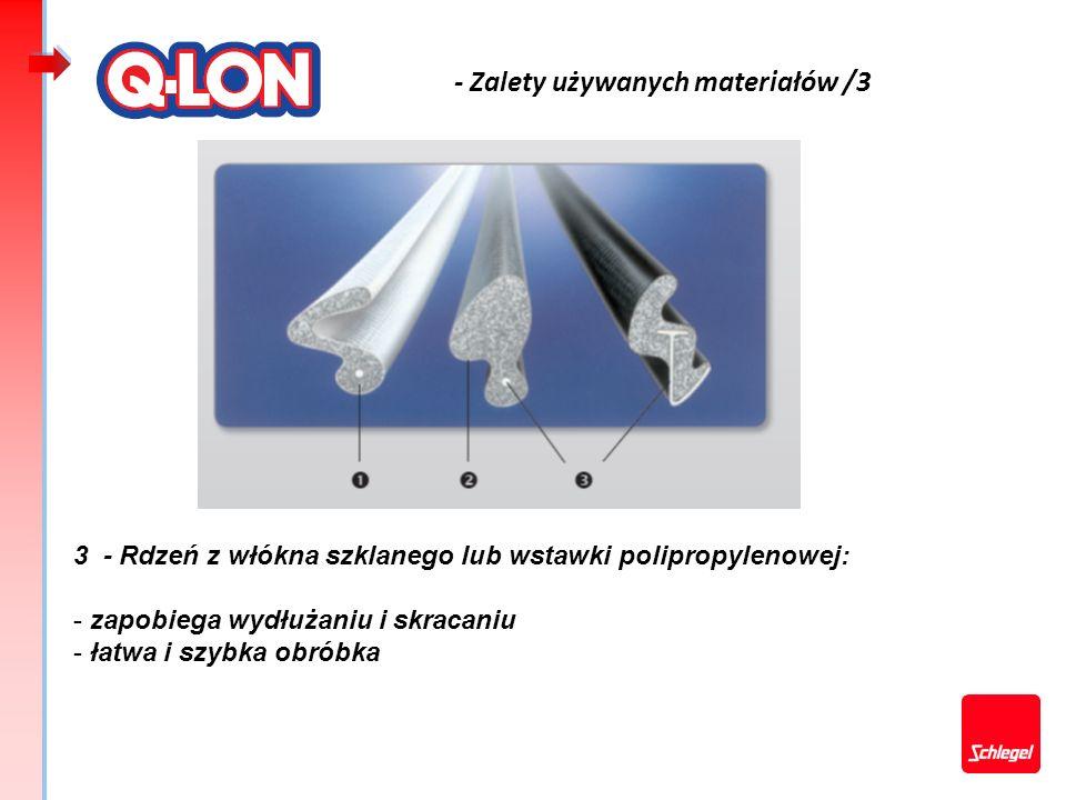 - Zalety używanych materiałów /3 3 - Rdzeń z włókna szklanego lub wstawki polipropylenowej: - zapobiega wydłużaniu i skracaniu - łatwa i szybka obróbk