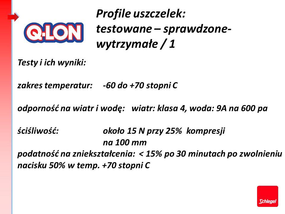 Testy i wyniki: Odporność na warunki atmosferyczne: testowane do 21 lat Odporność na ozon:stadium spękania 0 Kompatybilne z PVC-U, brak spękań w miejscu kontaktu Brak odbarwienia na styku materiałów - indeks zbieżności kolorów >4 Brak przetarć po 285 000 cykli.