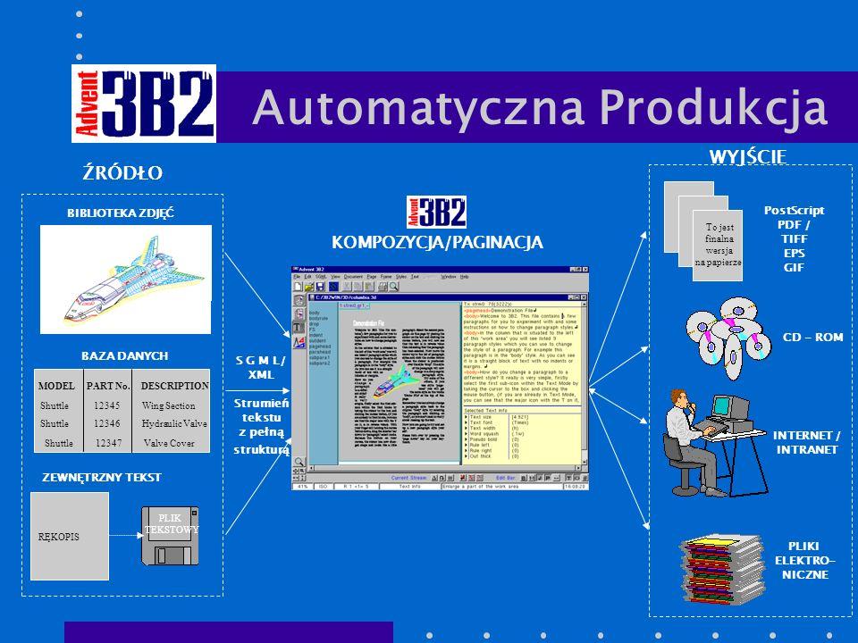 WYJŚCIE INTERNET / INTRANET CD - ROM PostScript PDF / TIFF EPS GIF PLIKI ELEKTRO- NICZNE To jest finalna wersja na papierze.