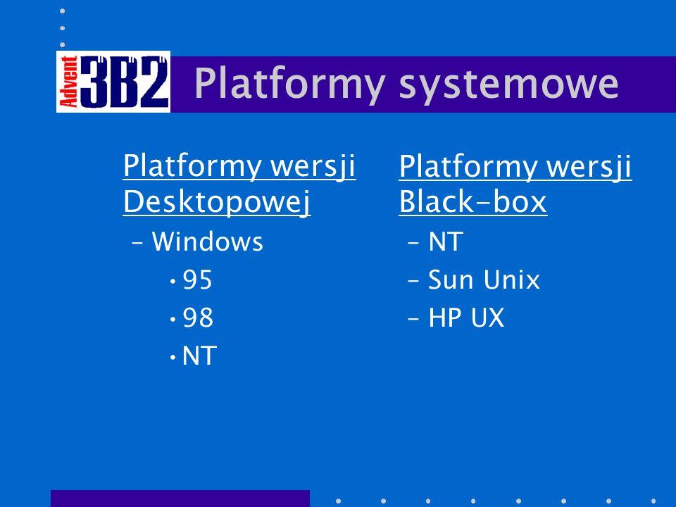 Platformy systemowe Platformy wersji Desktopowej –Windows 95 98 NT Platformy wersji Black-box –NT –Sun Unix –HP UX