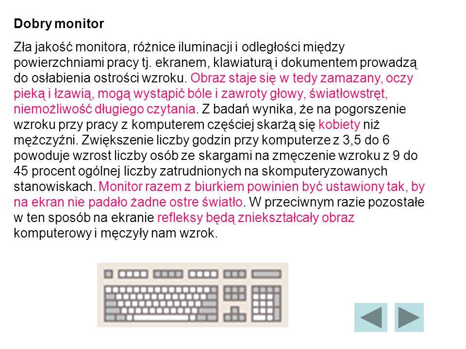 Dobry monitor Zła jakość monitora, różnice iluminacji i odległości między powierzchniami pracy tj.