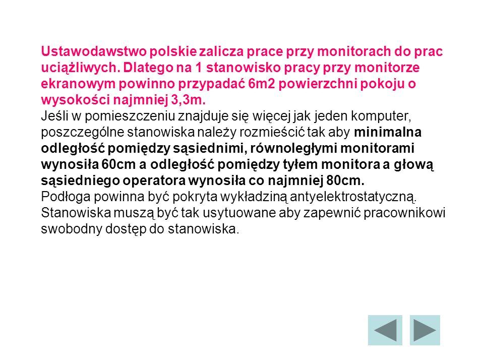 Ustawodawstwo polskie zalicza prace przy monitorach do prac uciążliwych.