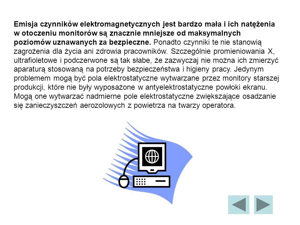 Emisja czynników elektromagnetycznych jest bardzo mała i ich natężenia w otoczeniu monitorów są znacznie mniejsze od maksymalnych poziomów uznawanych za bezpieczne.