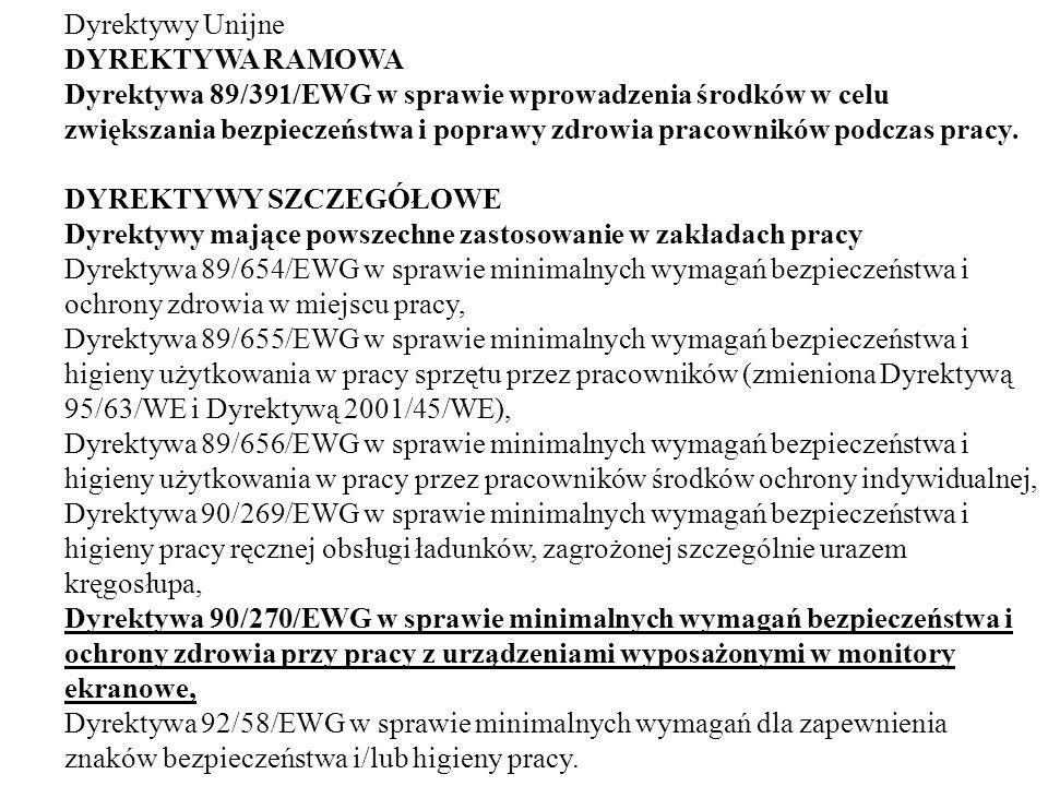 Dyrektywy Unijne DYREKTYWA RAMOWA Dyrektywa 89/391/EWG w sprawie wprowadzenia środków w celu zwiększania bezpieczeństwa i poprawy zdrowia pracowników podczas pracy.
