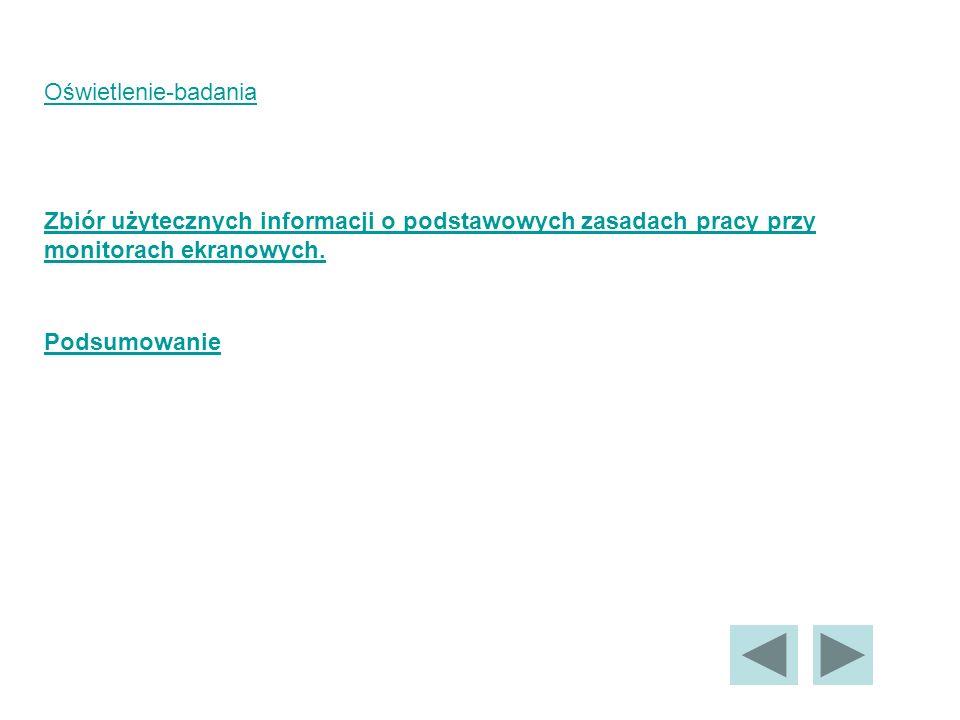 Oświetlenie-badania Zbiór użytecznych informacji o podstawowych zasadach pracy przy monitorach ekranowych.