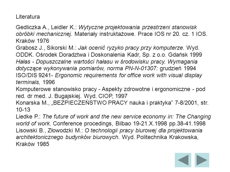 Literatura Gedliczka A., Leidler K.: Wytyczne projektowania przestrzeni stanowisk obróbki mechanicznej.