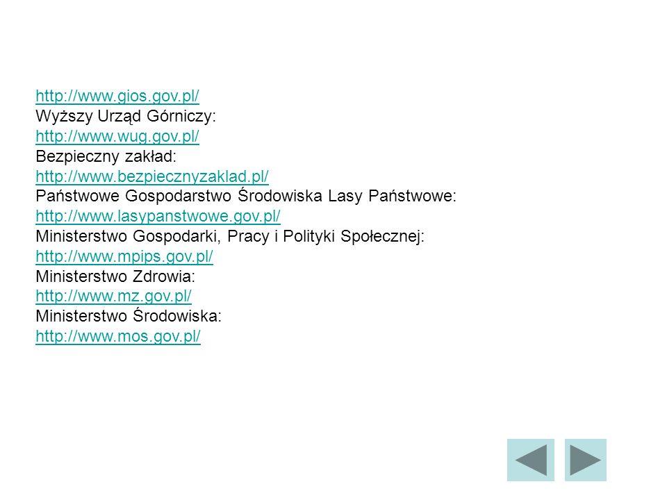 http://www.gios.gov.pl/ Wyższy Urząd Górniczy: http://www.wug.gov.pl/ http://www.wug.gov.pl/ Bezpieczny zakład: http://www.bezpiecznyzaklad.pl/ http://www.bezpiecznyzaklad.pl/ Państwowe Gospodarstwo Środowiska Lasy Państwowe: http://www.lasypanstwowe.gov.pl/ http://www.lasypanstwowe.gov.pl/ Ministerstwo Gospodarki, Pracy i Polityki Społecznej: http://www.mpips.gov.pl/ http://www.mpips.gov.pl/ Ministerstwo Zdrowia: http://www.mz.gov.pl/ http://www.mz.gov.pl/ Ministerstwo Środowiska: http://www.mos.gov.pl/ http://www.mos.gov.pl/
