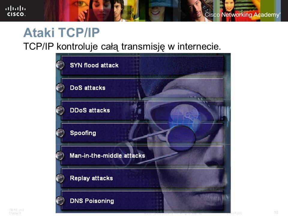 ITE PC v4.0 Chapter 9 10 © 2007 Cisco Systems, Inc. All rights reserved.Cisco Public Ataki TCP/IP TCP/IP kontroluje całą transmisję w internecie.