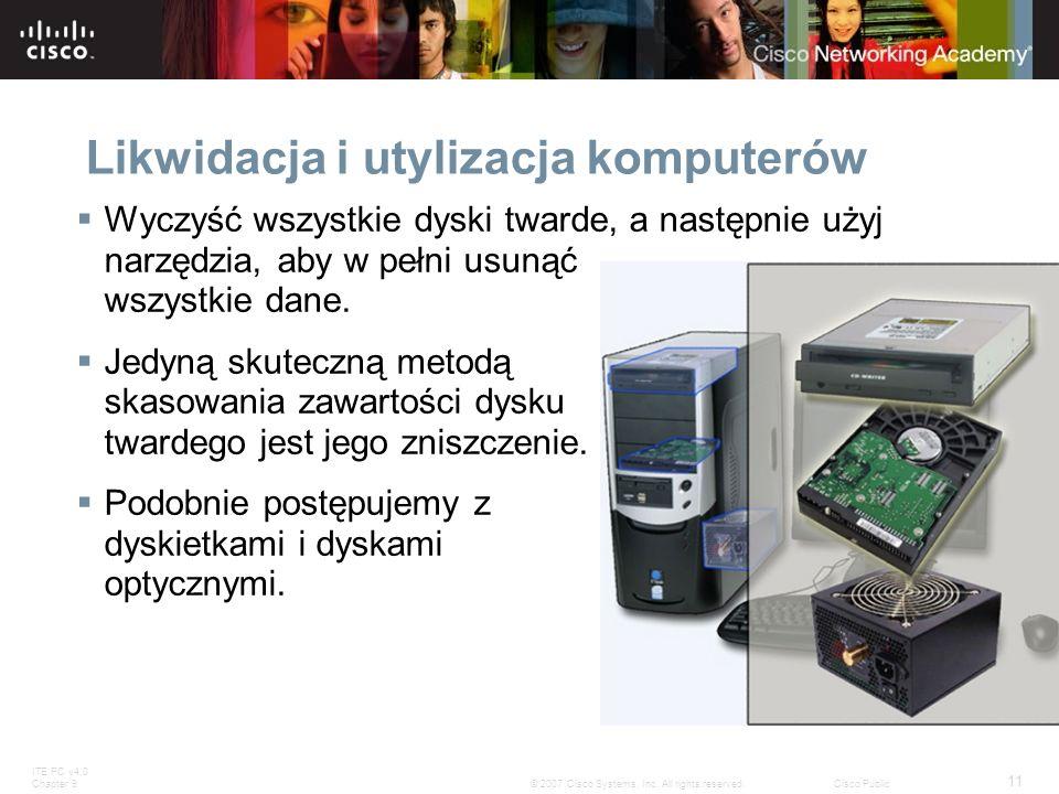 ITE PC v4.0 Chapter 9 11 © 2007 Cisco Systems, Inc. All rights reserved.Cisco Public Likwidacja i utylizacja komputerów Wyczyść wszystkie dyski twarde