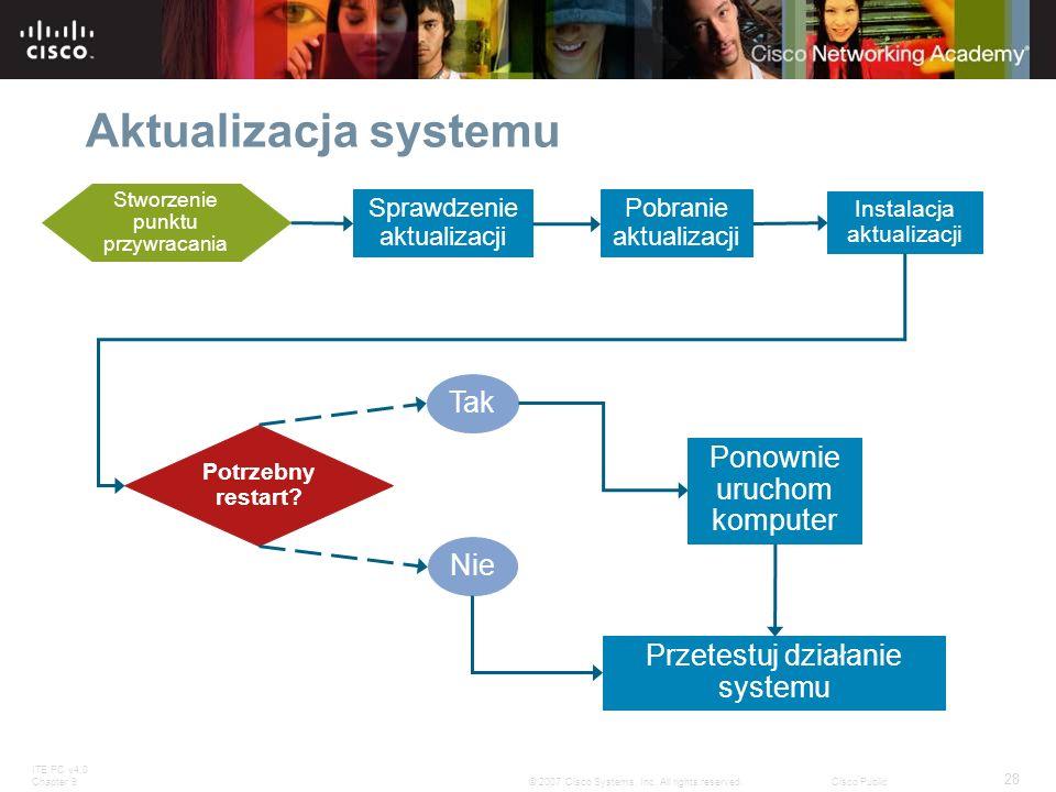 ITE PC v4.0 Chapter 9 28 © 2007 Cisco Systems, Inc. All rights reserved.Cisco Public Aktualizacja systemu Sprawdzenie aktualizacji Instalacja aktualiz