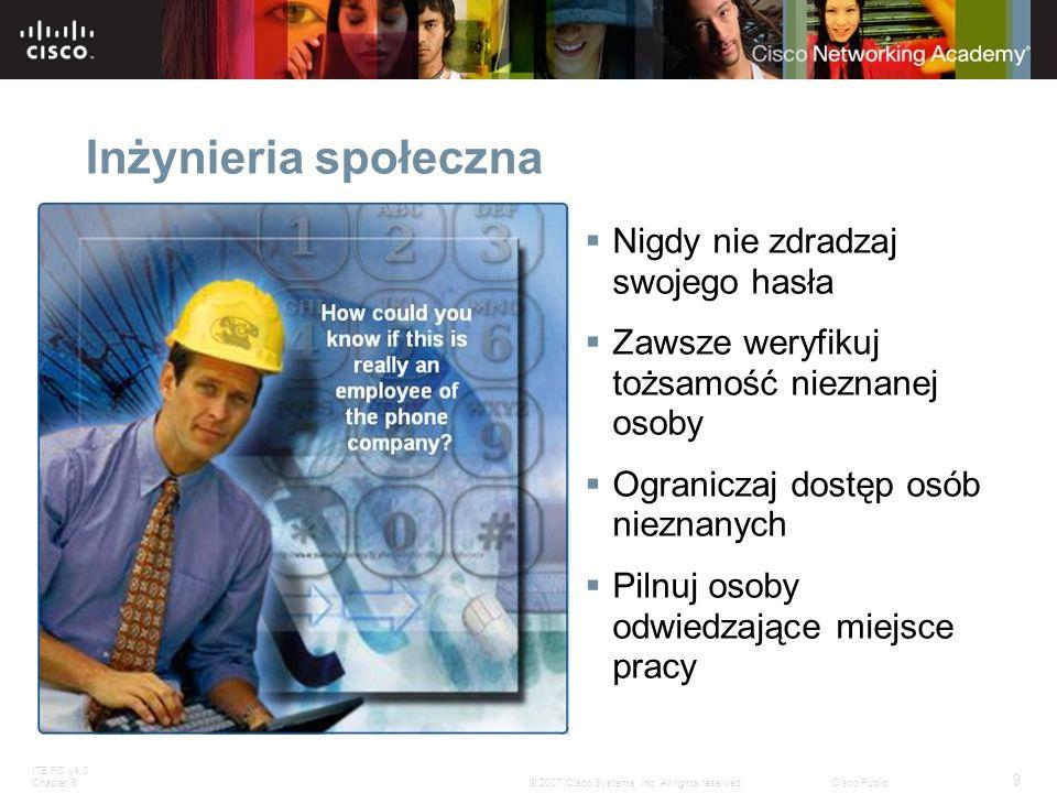 ITE PC v4.0 Chapter 9 9 © 2007 Cisco Systems, Inc. All rights reserved.Cisco Public Inżynieria społeczna Nigdy nie zdradzaj swojego hasła Zawsze weryf