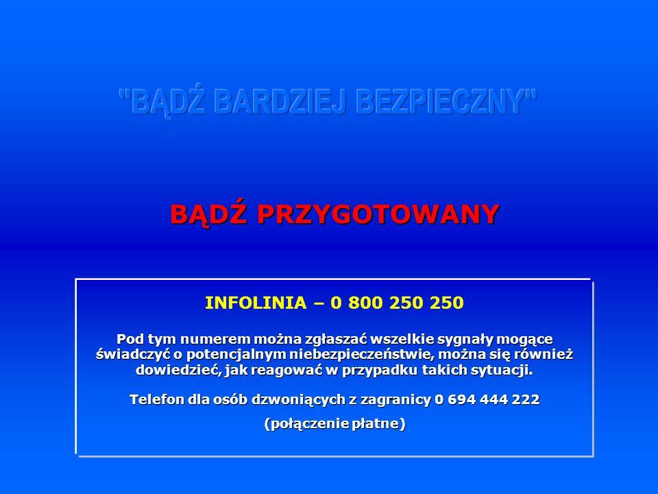 INFOLINIA – 0 800 250 250 Pod tym numerem można zgłaszać wszelkie sygnały mogące świadczyć o potencjalnym niebezpieczeństwie, można się również dowiedzieć, jak reagować w przypadku takich sytuacji.