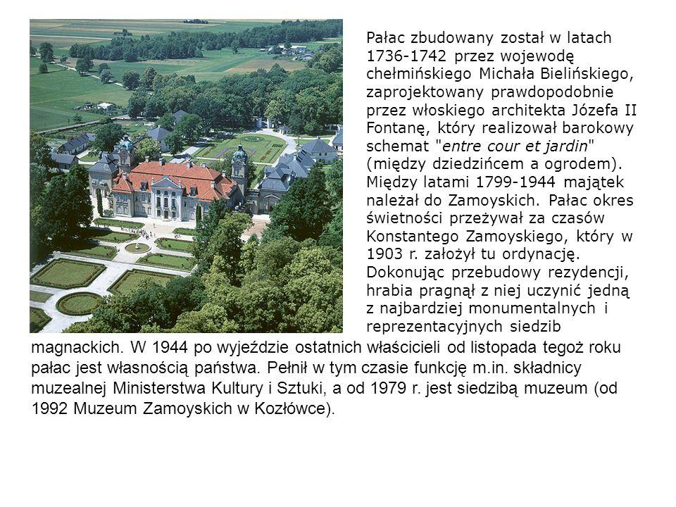 Pałac zbudowany został w latach 1736-1742 przez wojewodę chełmińskiego Michała Bielińskiego, zaprojektowany prawdopodobnie przez włoskiego architekta