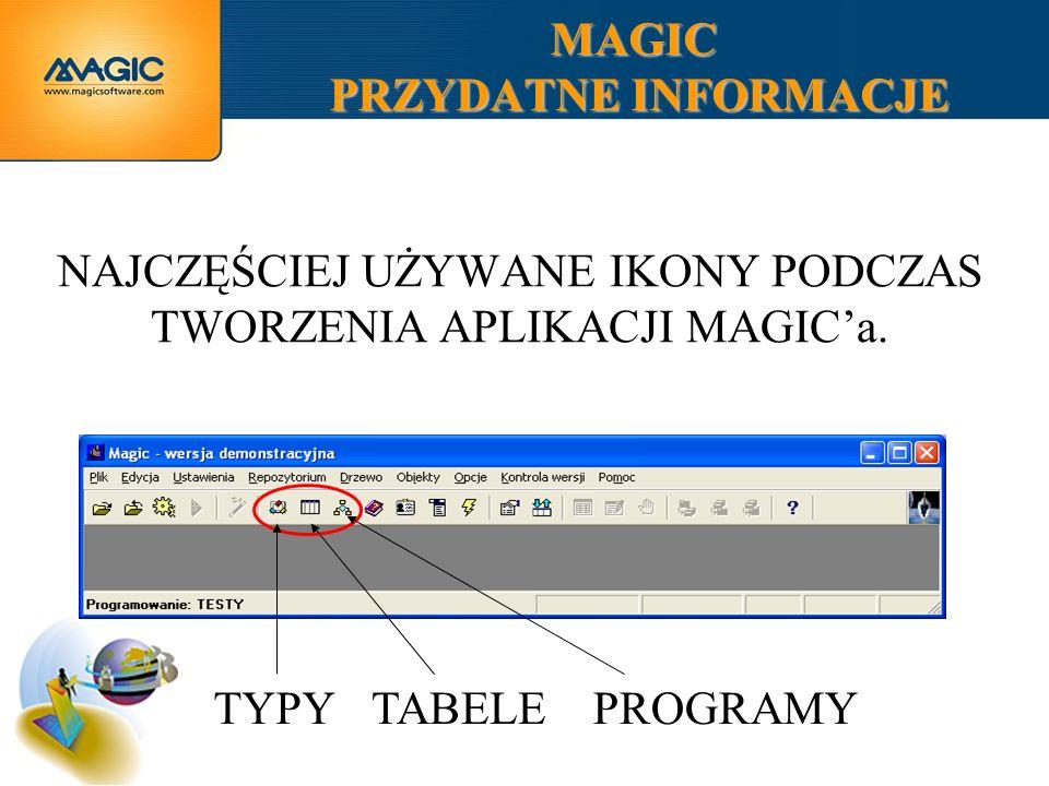 MAGIC PRZYDATNE INFORMACJE NAJCZĘŚCIEJ UŻYWANE IKONY PODCZAS TWORZENIA APLIKACJI MAGICa. TYPY TABELE PROGRAMY