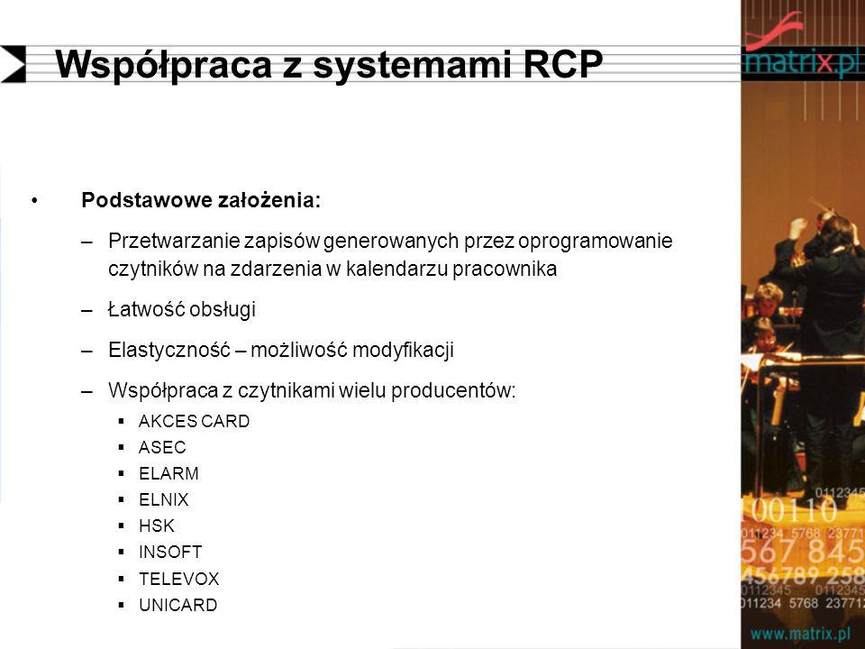 Współpraca z systemami RCP Podstawowe założenia: –Przetwarzanie zapisów generowanych przez oprogramowanie czytników na zdarzenia w kalendarzu pracownika –Łatwość obsługi –Elastyczność – możliwość modyfikacji –Współpraca z czytnikami wielu producentów: AKCES CARD ASEC ELARM ELNIX HSK INSOFT TELEVOX UNICARD
