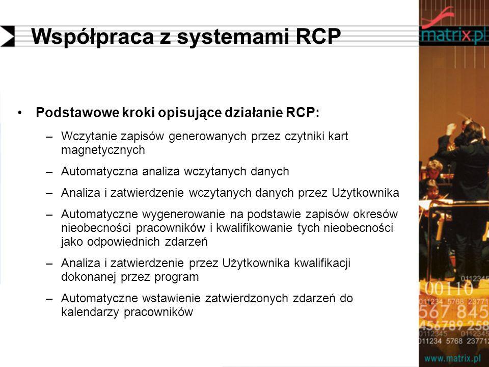 Współpraca z systemami RCP Podstawowe kroki opisujące działanie RCP: –Wczytanie zapisów generowanych przez czytniki kart magnetycznych –Automatyczna analiza wczytanych danych –Analiza i zatwierdzenie wczytanych danych przez Użytkownika –Automatyczne wygenerowanie na podstawie zapisów okresów nieobecności pracowników i kwalifikowanie tych nieobecności jako odpowiednich zdarzeń –Analiza i zatwierdzenie przez Użytkownika kwalifikacji dokonanej przez program –Automatyczne wstawienie zatwierdzonych zdarzeń do kalendarzy pracowników