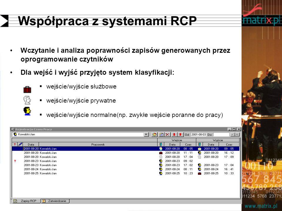 Współpraca z systemami RCP Wczytanie i analiza poprawności zapisów generowanych przez oprogramowanie czytników Dla wejść i wyjść przyjęto system klasyfikacji: wejście/wyjście służbowe wejście/wyjście prywatne wejście/wyjście normalne(np.