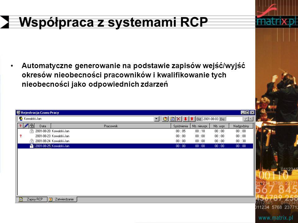 Współpraca z systemami RCP Automatyczne generowanie na podstawie zapisów wejść/wyjść okresów nieobecności pracowników i kwalifikowanie tych nieobecności jako odpowiednich zdarzeń