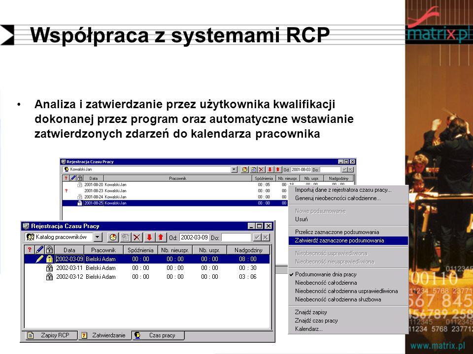 Współpraca z systemami RCP Analiza i zatwierdzanie przez użytkownika kwalifikacji dokonanej przez program oraz automatyczne wstawianie zatwierdzonych zdarzeń do kalendarza pracownika
