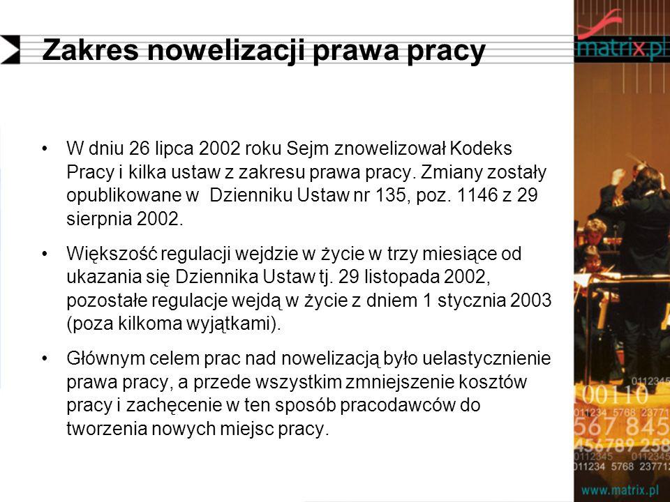 Zakres nowelizacji prawa pracy W dniu 26 lipca 2002 roku Sejm znowelizował Kodeks Pracy i kilka ustaw z zakresu prawa pracy. Zmiany zostały opublikowa