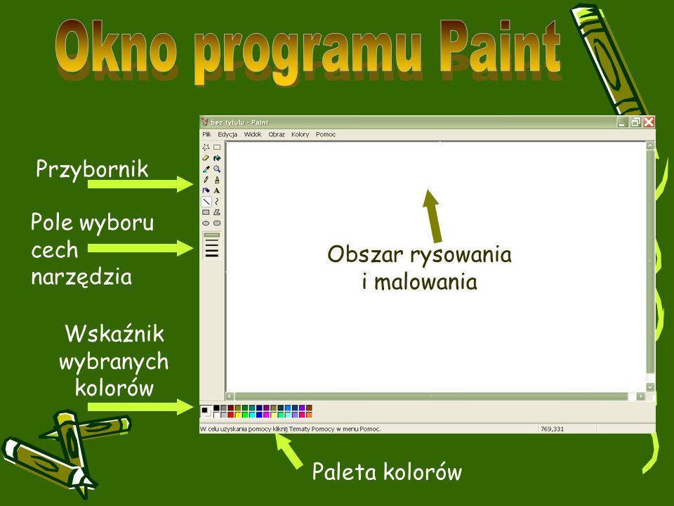Przybornik Pole wyboru cech narzędzia Wskaźnik wybranych kolorów Paleta kolorów Obszar rysowania i malowania