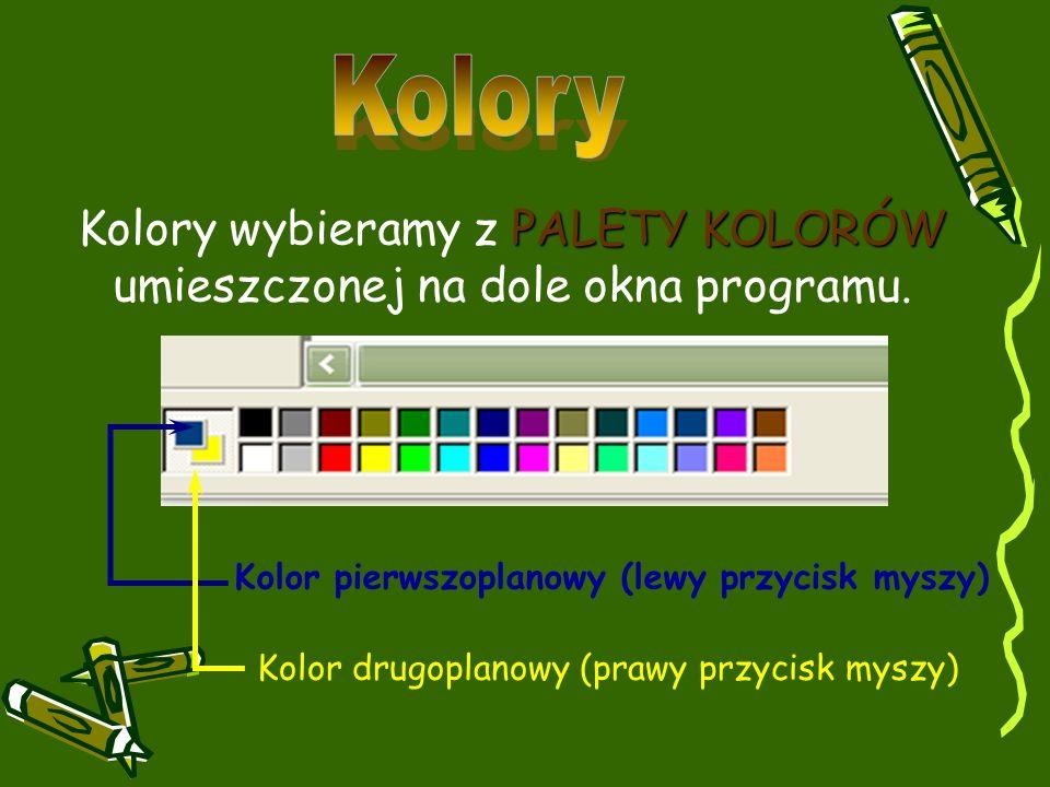 PALETY KOLORÓW Kolory wybieramy z PALETY KOLORÓW umieszczonej na dole okna programu. Kolor pierwszoplanowy (lewy przycisk myszy) Kolor drugoplanowy (p