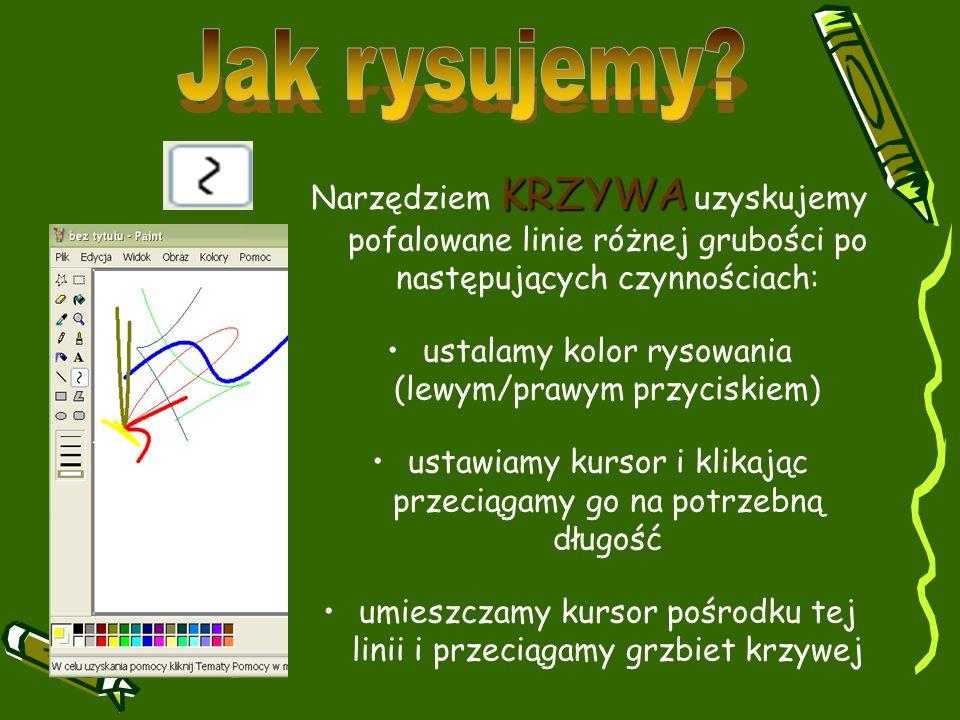 KRZYWA Narzędziem KRZYWA uzyskujemy pofalowane linie różnej grubości po następujących czynnościach: ustalamy kolor rysowania (lewym/prawym przyciskiem