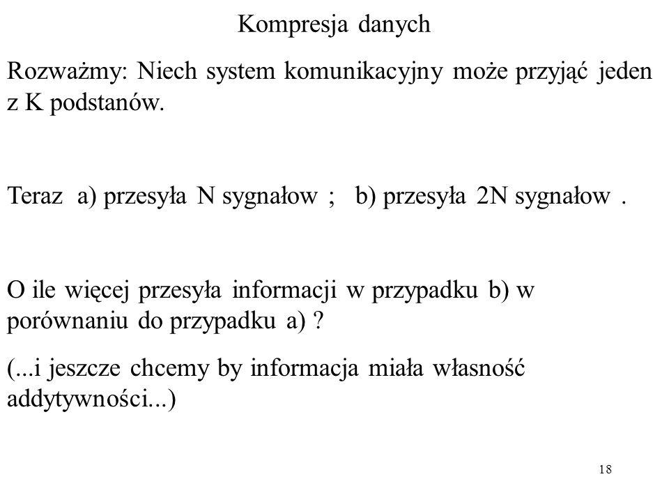 18 Kompresja danych Rozważmy: Niech system komunikacyjny może przyjąć jeden z K podstanów. Teraz a) przesyła N sygnałow ; b) przesyła 2N sygnałow. O i