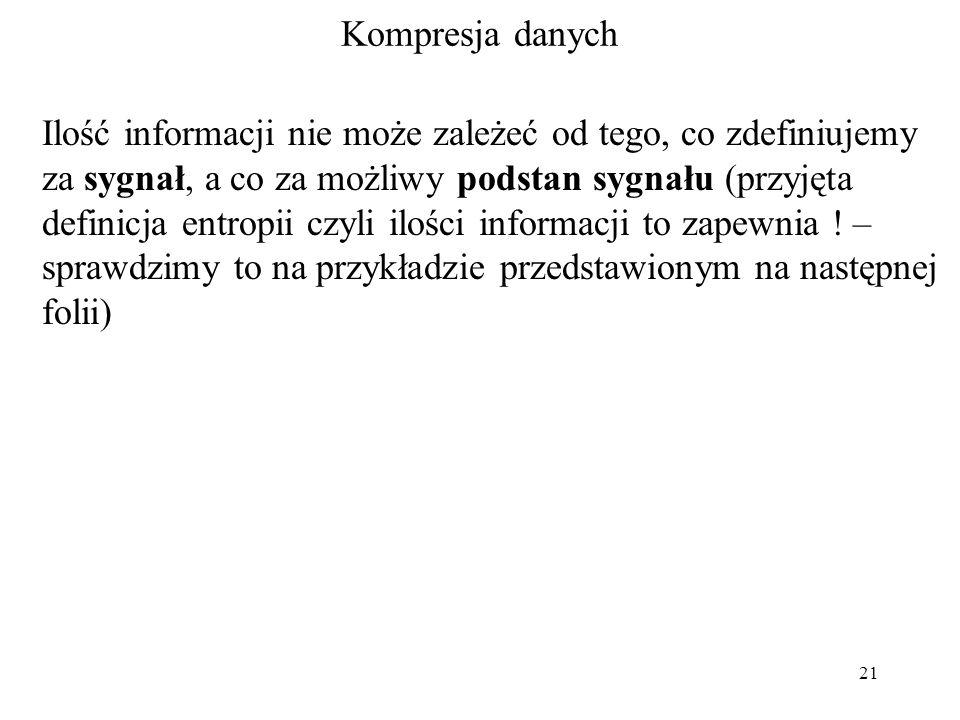 21 Kompresja danych Ilość informacji nie może zależeć od tego, co zdefiniujemy za sygnał, a co za możliwy podstan sygnału (przyjęta definicja entropii